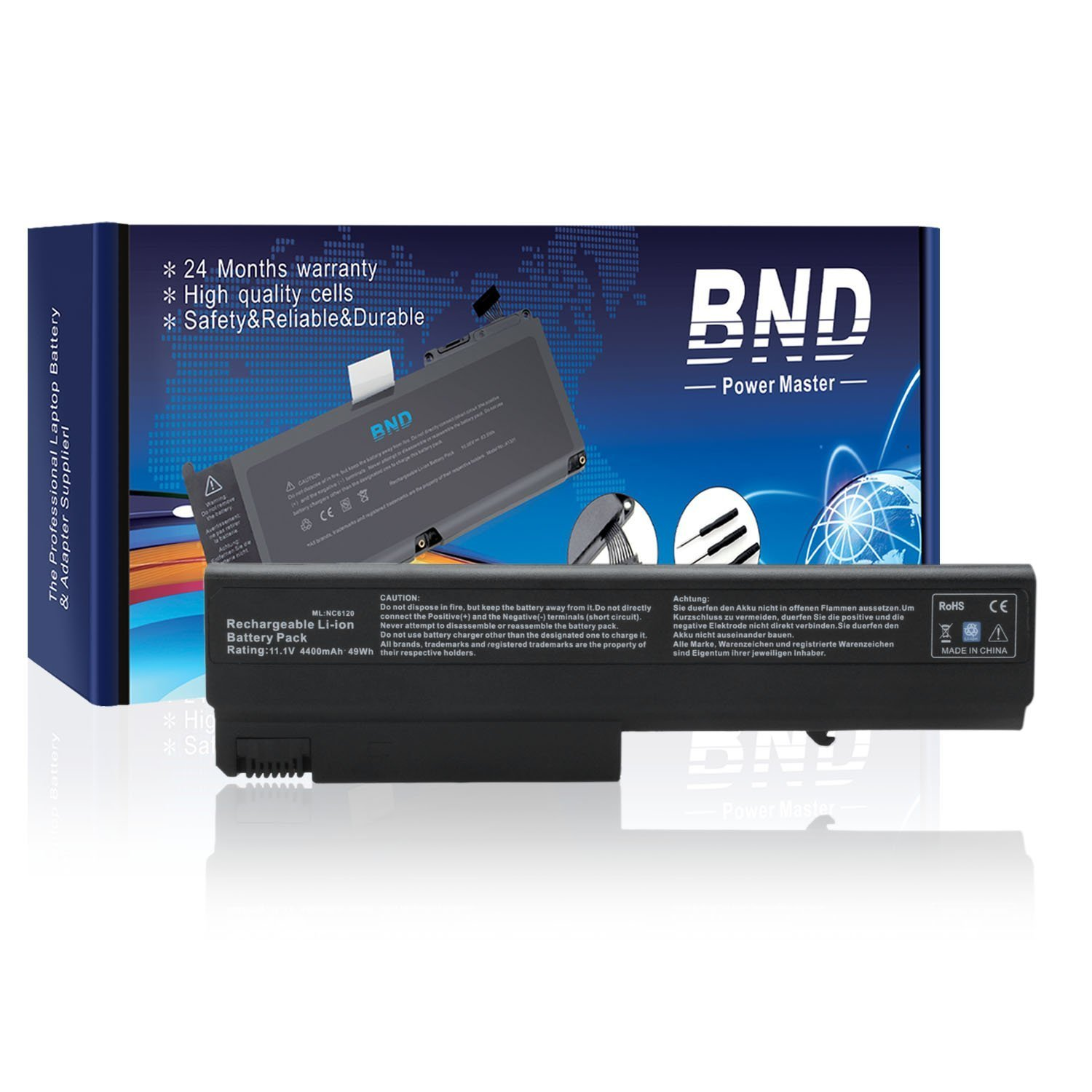 Amazon.com: BND Laptop Battery for HP Compaq 6910p 6510b 6710b NC6400 NC6220  6715s NC6120 NX6110 - 12 Months Warranty[6-Cell 4400mAh/48Wh]: Computers &  ...
