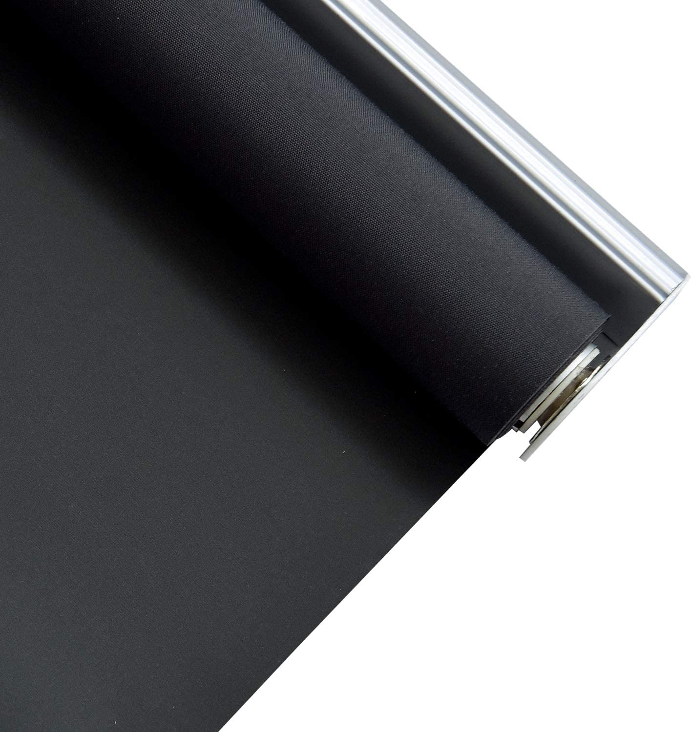 ALLBRIGHT Classic 100% Blackout Cordless Thermal Insulated Fabric Vinyl Roller Shades Blinds for Windows, Easy to Install, NightBlack, 33