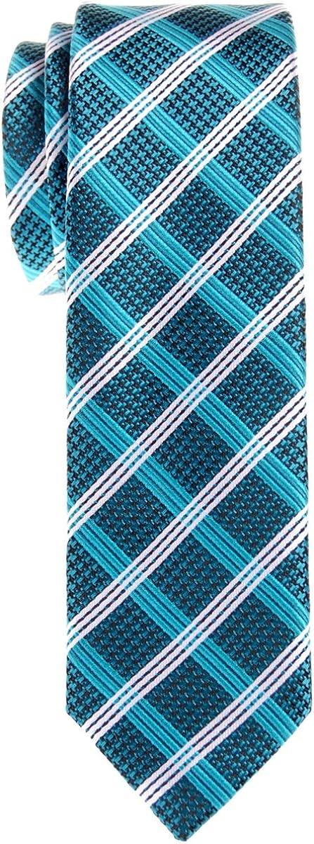 Retreez Corbata de microfibra fina a cuadros elegante de época para hombres