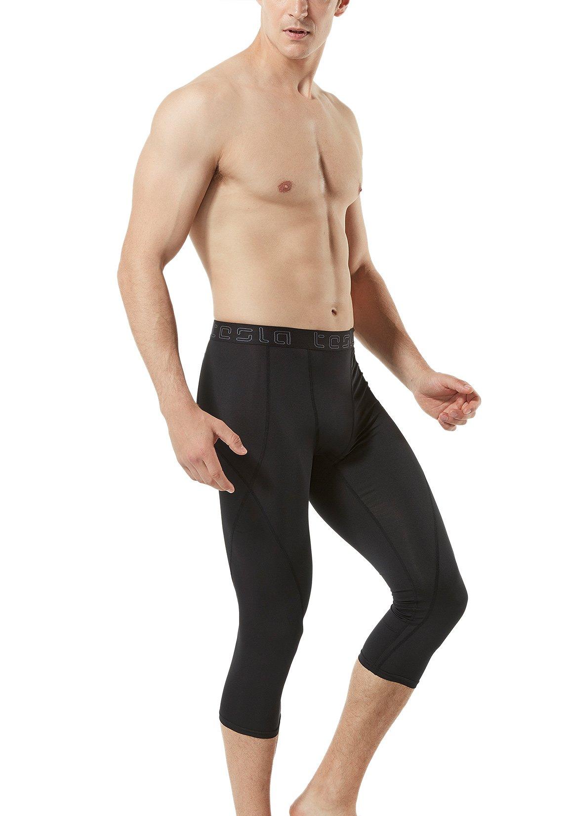 TM-MUC18-KLB_X-Small Tesla Men's Compression Capri Shorts Baselayer Cool Dry Sports Tights MUC18 by TSLA (Image #7)