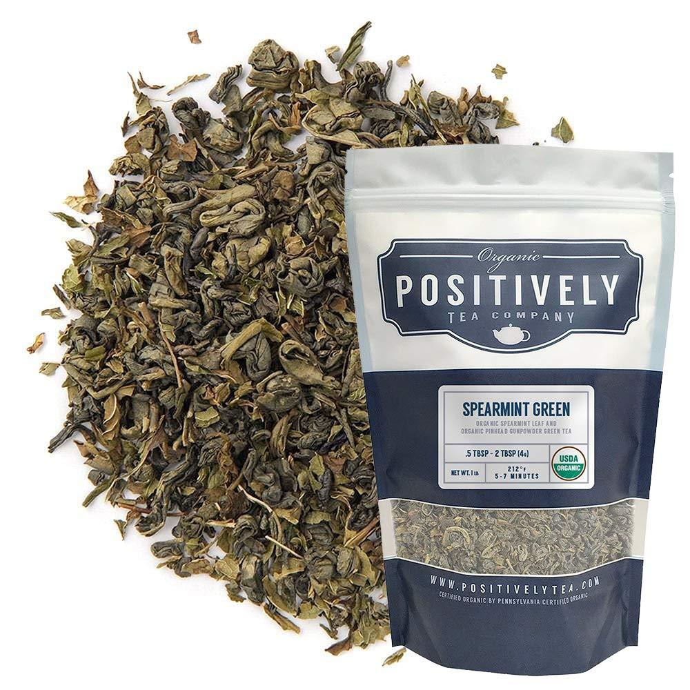 Organic Positively Tea Company, Spearmint, Green Tea, Loose Leaf, 16 Ounce