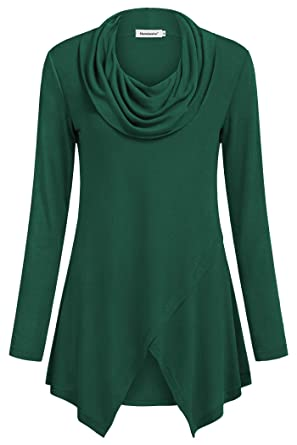774ca422753 Nandashe Turtleneck Sweaters for Women Winter, Bell Sleeve Tops High  Stretchy Empire Waist Soft Surroundings