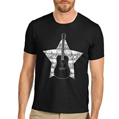 40d479807 TWISTED ENVY Men's Premium Cotton Guitar Music Notes Star Print T-Shirt:  Amazon.co.uk: Clothing