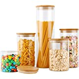 COPDREL Glass Food Storage Jars Containers, Glass Storage Jar with Airtight Bamboo Lids Set of 5 Kitchen Glass Canisters…
