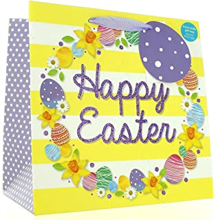 Happy easter gift wrap wrapping paper 2 sheets spring flowers medium extra wide happy easter gift bag bright flowers eggs 10 x 10 negle Image collections