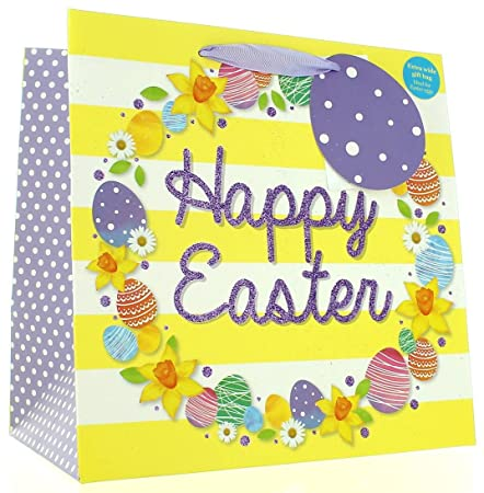 Medium extra wide happy easter gift bag bright flowers eggs 10 medium extra wide happy easter gift bag bright flowers eggs 10quot negle Images