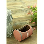 Importwala Vintage French Ceramic Barrel Planter for Home Garden Décor - Brown