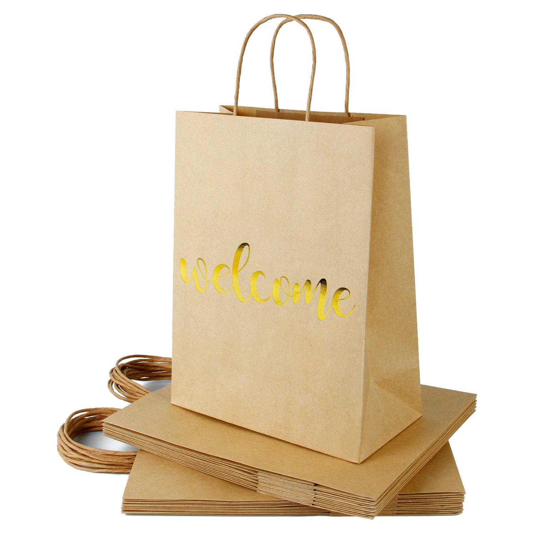 RUSPEPA Welcome Kraft Gift Bags -Gold Foil Kraft Paper Gift Bag Set for Wedding,Birthday Present-12Pack -10'' X 5'' X 13''