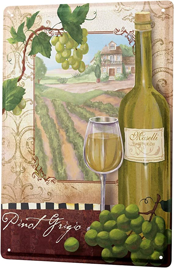 LEotiE SINCE 2004 Tin Sign Metal Plate Decorative Sign Home Decor Plaques 30 x 40 cm Bar Party Pinot Grigio