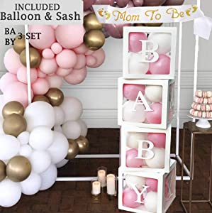 Baby Shower Decorations for Girl Or Boy, Baby Shower Boxes, Baby Blocks Decorations Baby Shower, Baby Shower Balloon Clear Boxes with Letters for Baby Shower, Gender Reveal Party Supplies