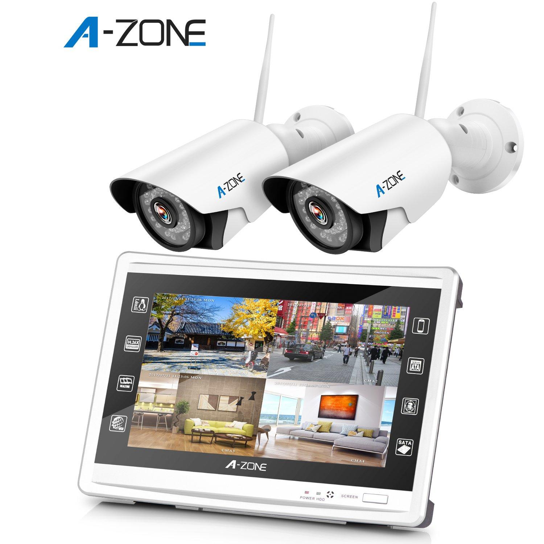 A-ZONE 130万画素タイプ WIFI防犯カメラセット 11.4インチモニター付き 4CHレコーダー(1000GB内蔵) 36IR LED 赤外線 ナイトビジョン スマホ IP67 防水 PC&スマホ遠隔監視 対応 (4台カメラ+1TBHDD) (AZ-P-SW960420-N1) B078K61CC4 AZ-P-SW960420-N1 AZ-P-SW960420-N1