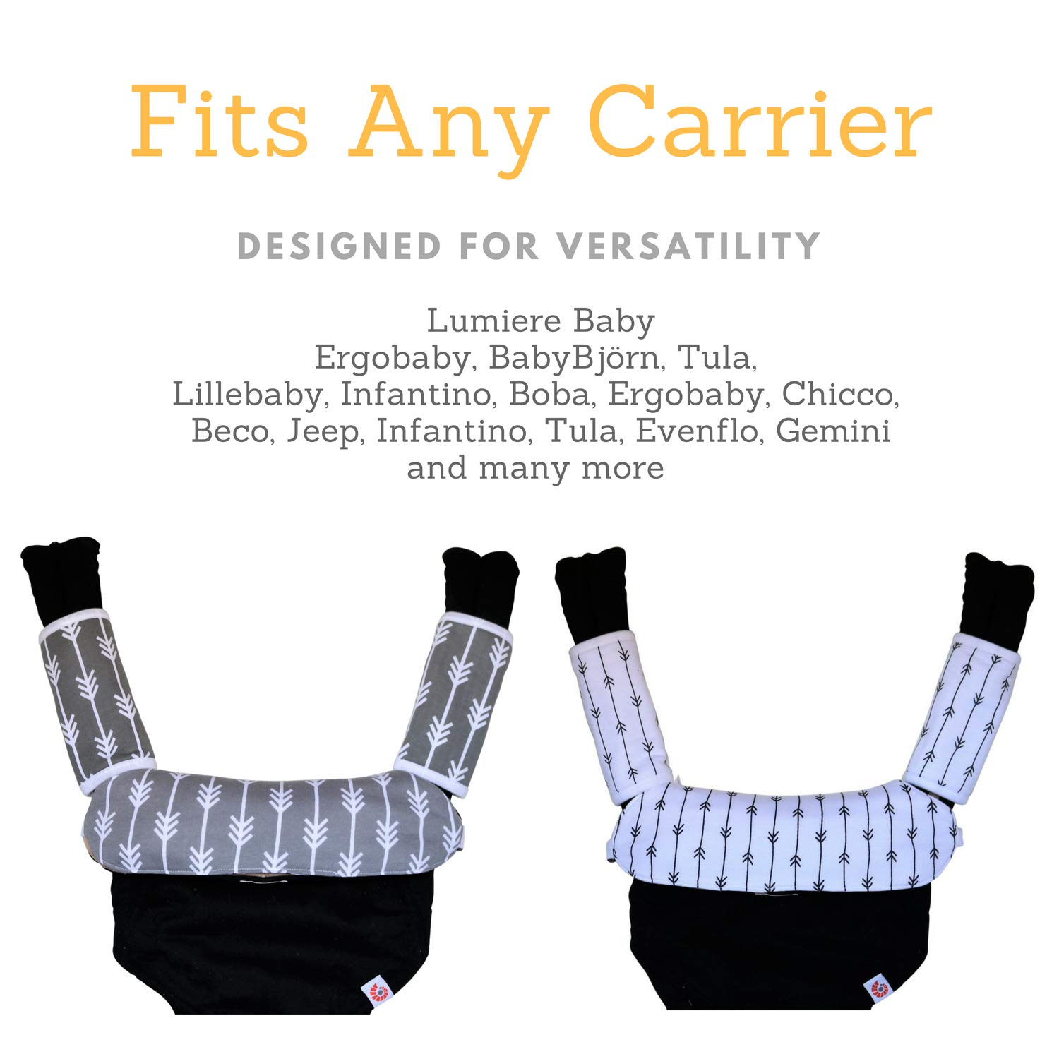 Baby Carrier Reversible Teething Drool Pads: Set of 3 Organic Cotton Bib Pad Strap Covers | Fit Ergo Babybjorn Infantino Any Baby Carriers | High Absorbent | Unisex Design | [Patent Pending] Lumiere Baby DP100GW