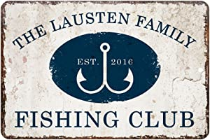 Pattern Pop Personalized Vintage Distressed Look Fishing Club Metal Room Sign