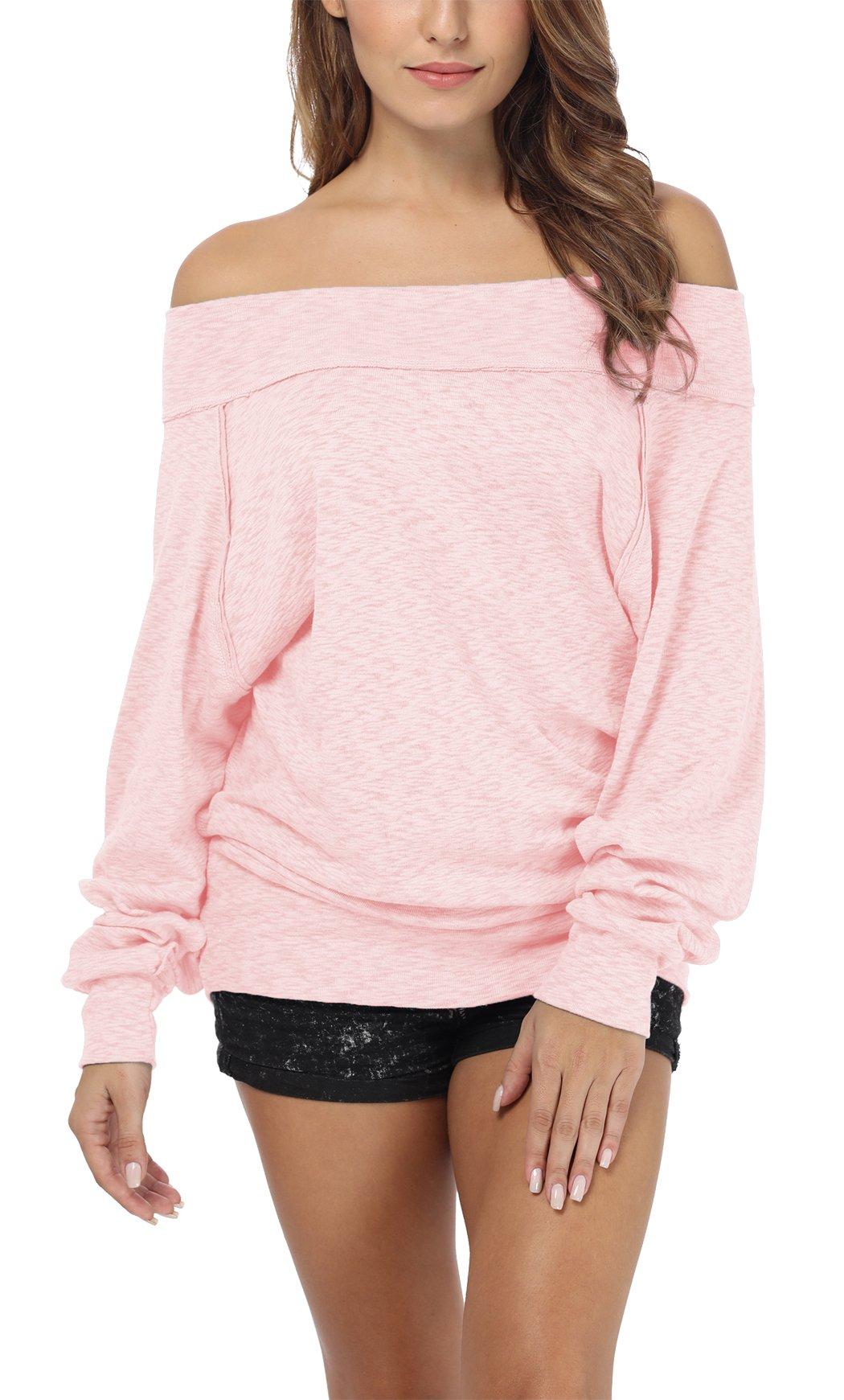 iGENJUN Women's Dolman Sleeve Off The Shoulder Sweater Shirt Tops,Pink,XL