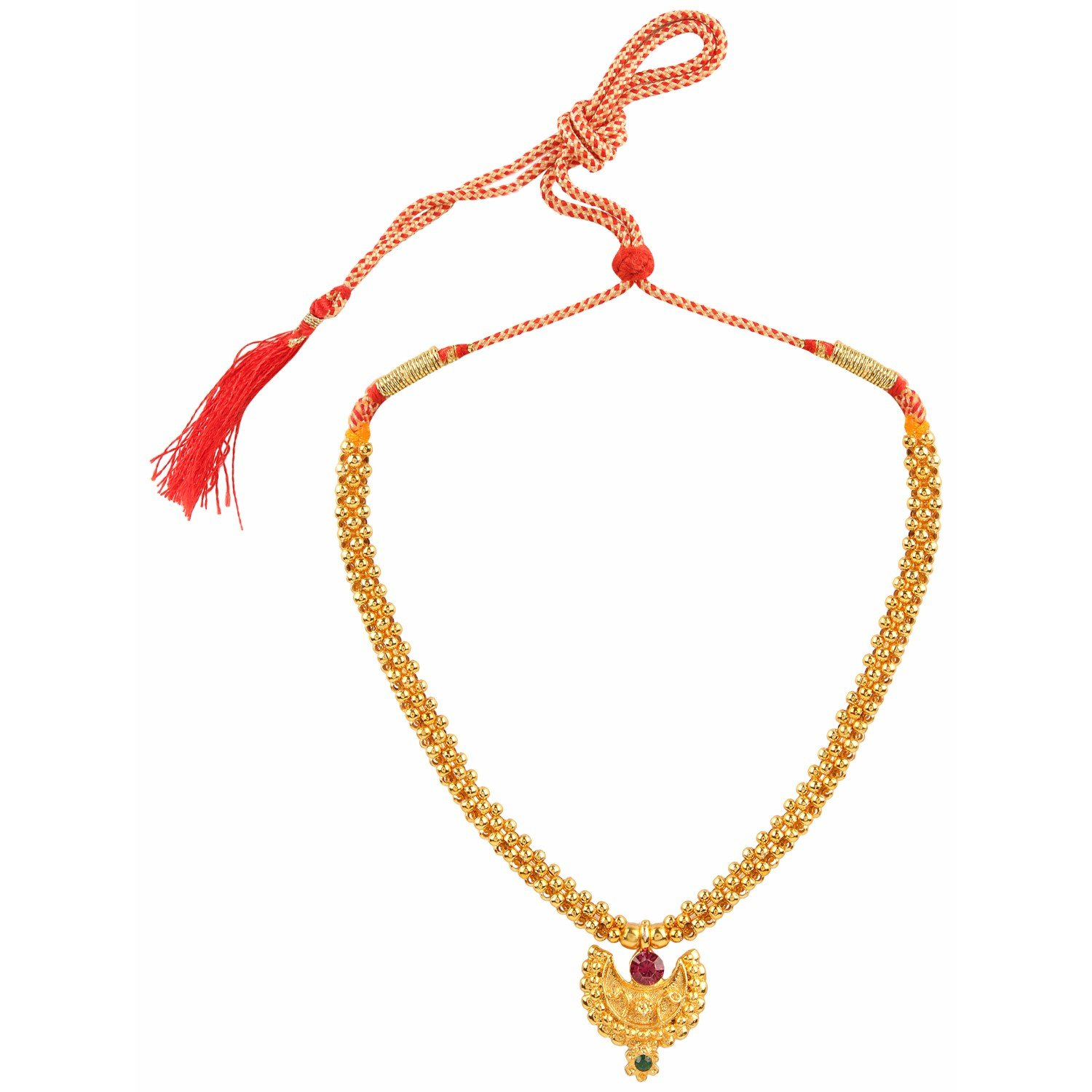 Efulgenz Indian Bollywood Traditional White Red Rhinestone Faux Ruby Pearl Designer Thusi Style Necklace in Antique 18K Gold Tone for Women and Girls (Style 6)