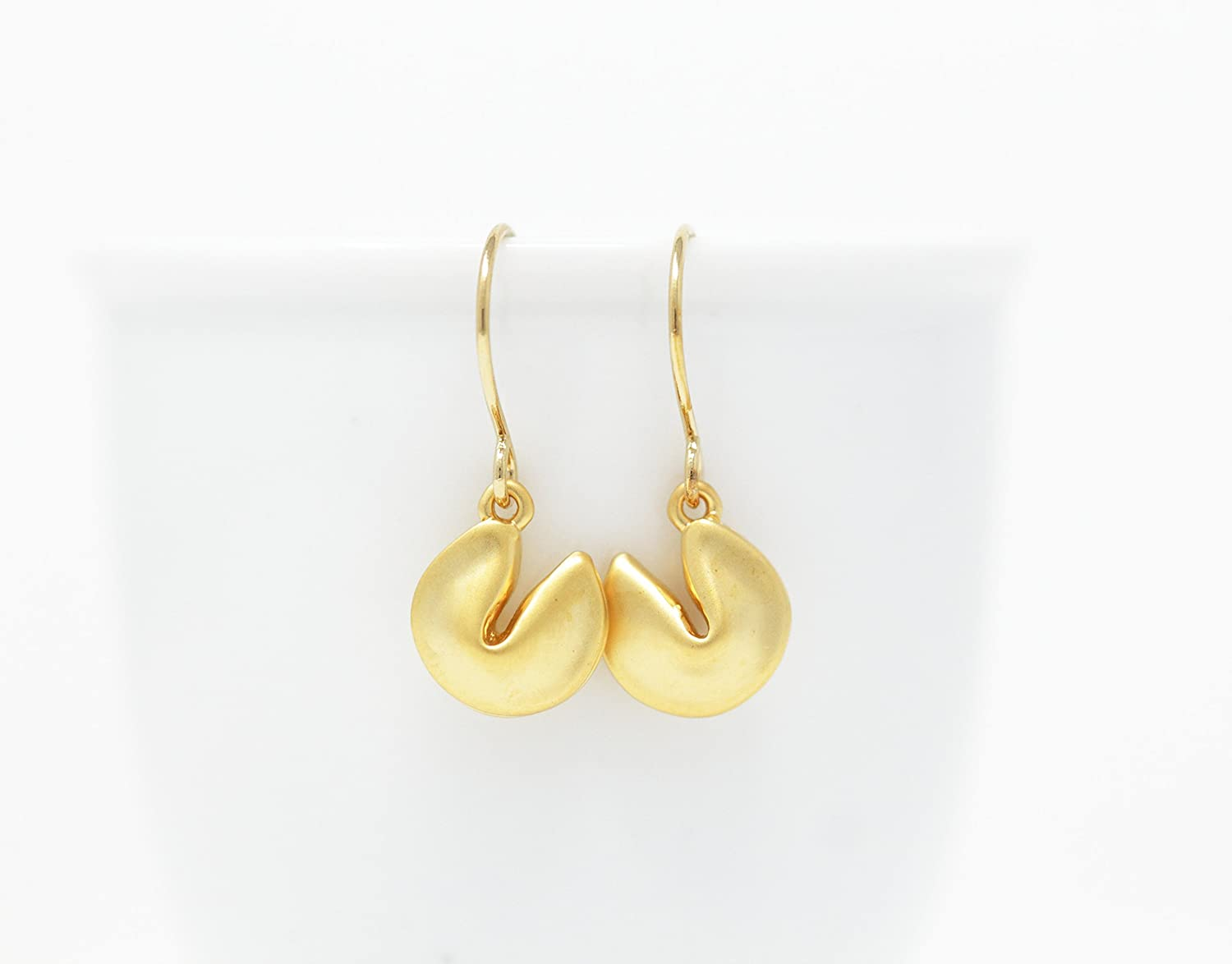Fortune Cookie Good Luck Charm Dangle Earrings