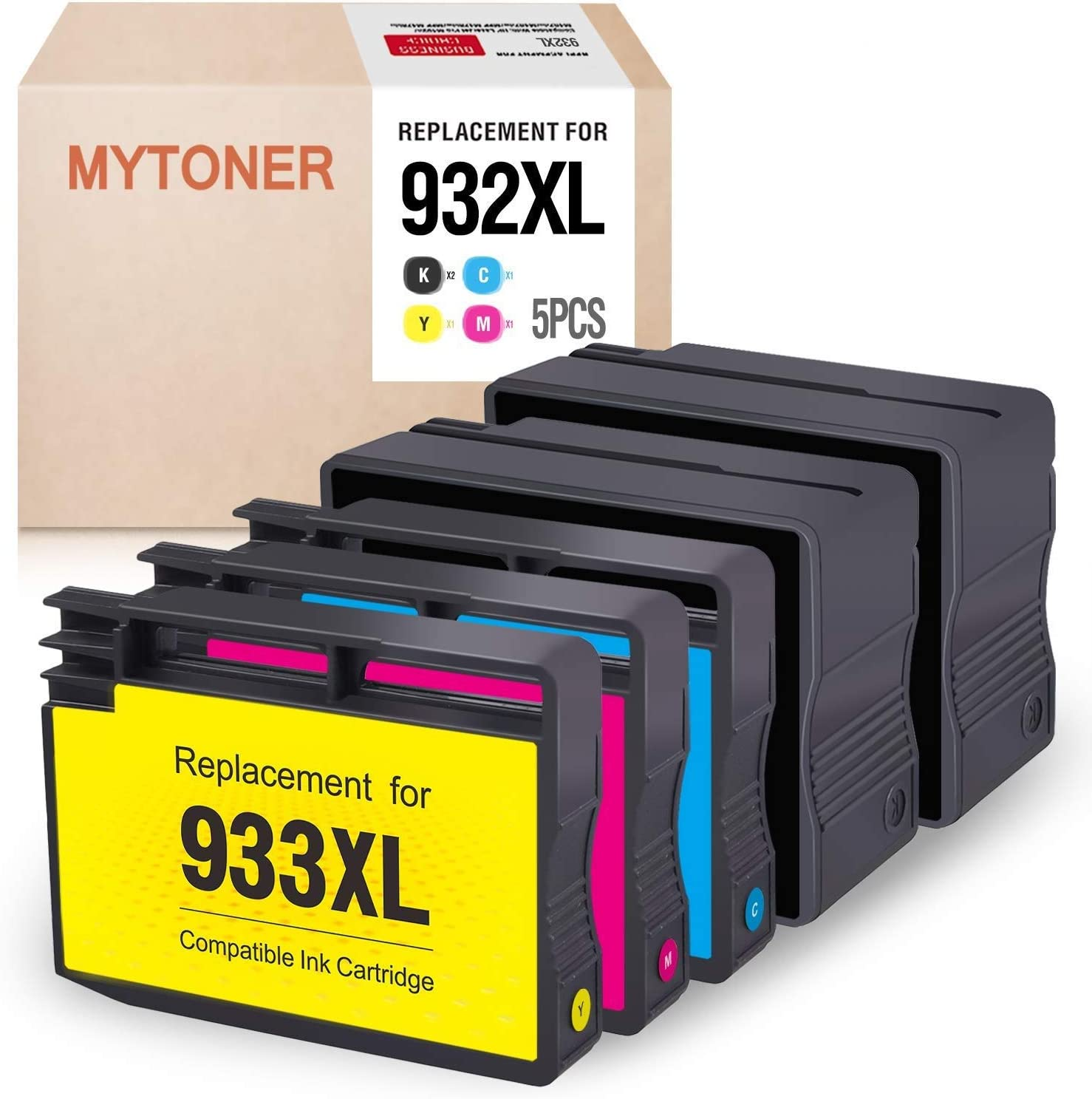 MYTONER Compatible Ink Cartridge Replacement for HP 932XL 933XL 932 933 Combo Pack (2 Black, 1 Cyan, 1 Magenta, 1 Yellow, 5-Pack)