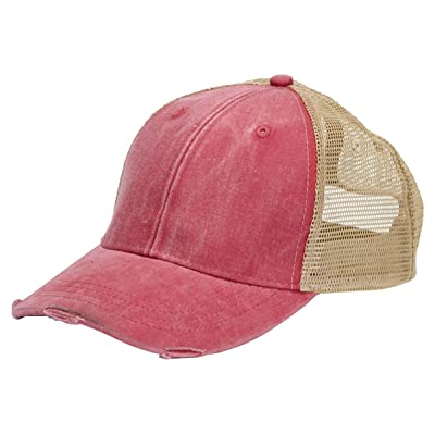 Adams OL102 - 6-Panel Pigment-Dyed Distressed Trucker Cap