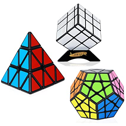 ae743c06ce73 Dreampark Speed Cube Set [3 Pack] Magic Puzzle Cube Bundle Sticker -  Includes Pyramid Speedcubing Puzzle, Megaminx Cube and Mirror Cube for Kids  and ...