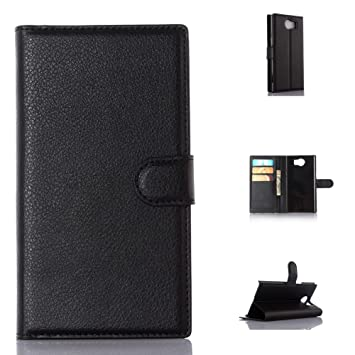 on sale fe30d 5a18d For BlackBerry Priv Case, Genuine Leather Wallet Case, Premium [Slim Fit]  Flip Book Case Cover with Stand Function and Credit Card Slot
