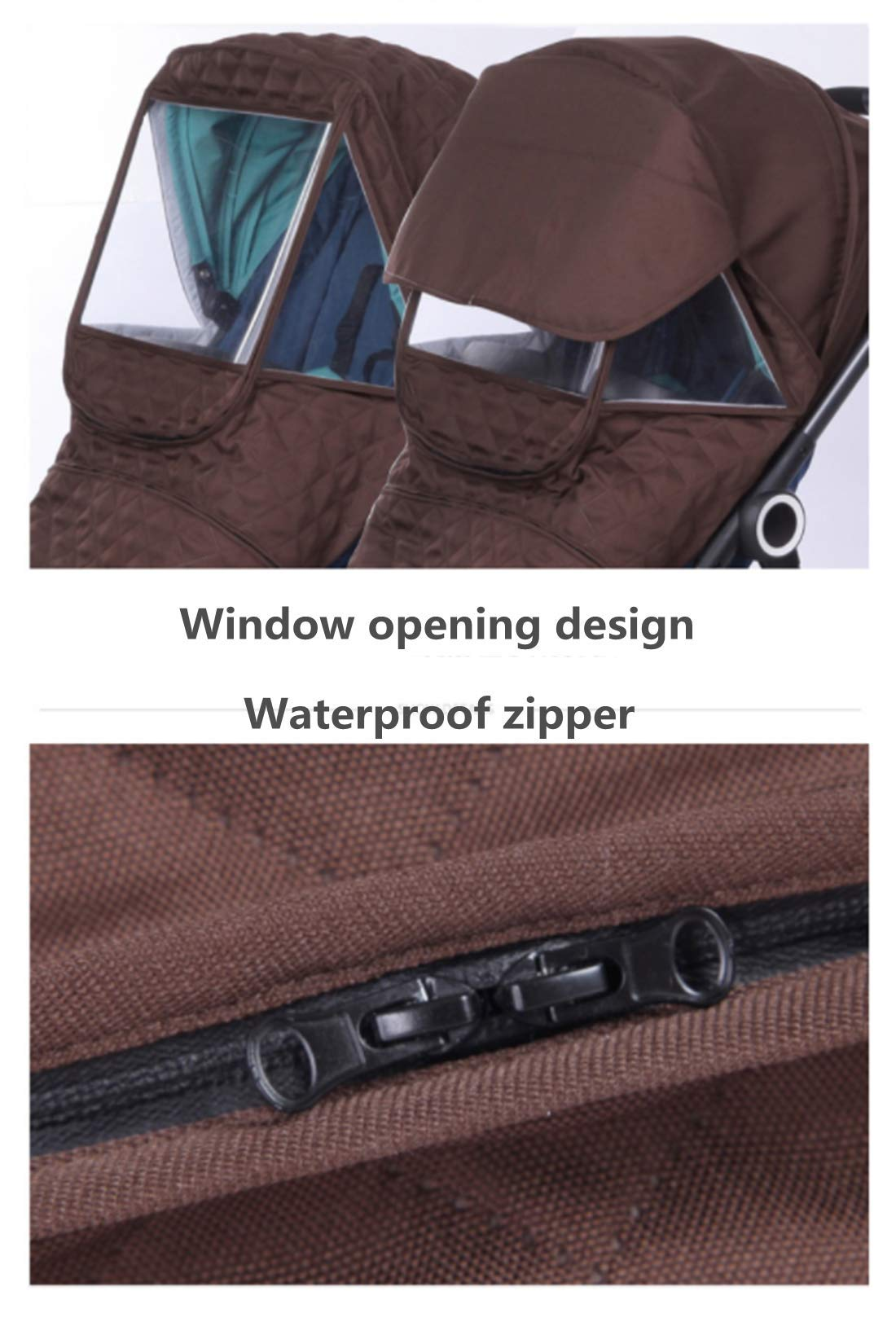Universal Stroller rain Cover Baby Stroller Windshield rain Cover, Snow Cover, Warm Winter Sunshade Waterproof Cover (Brown Color) by Anglebay (Image #5)