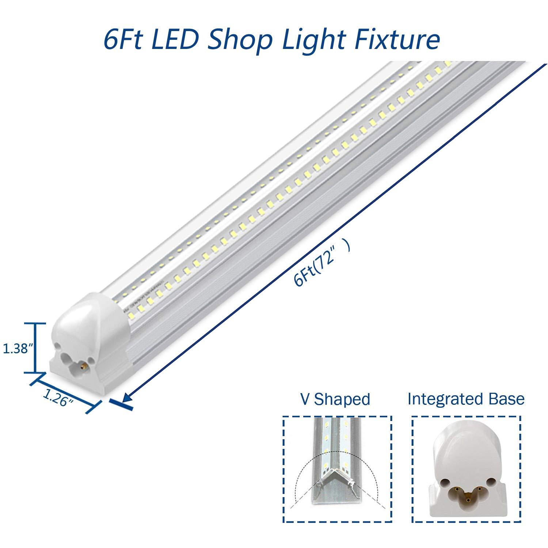 LED Tube Light for Garage 46W 6500K Pack of 25 Brighter White 5000LM Hight Output T8 V-Shape Integrated Tube Light Fixture Warehouse Plug and Play 6Ft LED Shop Light