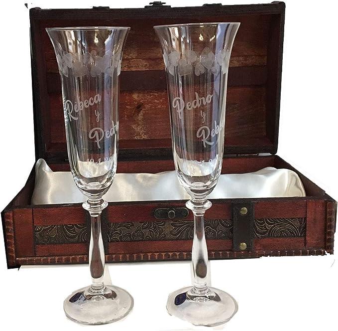 Copas para boda con corazones tallados, GRABADAS personalizadas con nombre y fecha (Presentación en Baúl): Amazon.es: Hogar