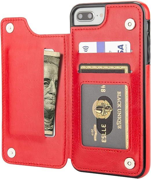 Aoksow Étui portefeuille pour iPhone 8 Plus, iPhone 7 Plus, étui portefeuille en cuir PU de qualité supérieure avec porte-cartes et protection contre ...
