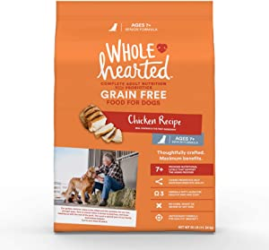 WholeHearted Grain Free Senior Chicken Recipe Dry Dog Food, 25 lbs.