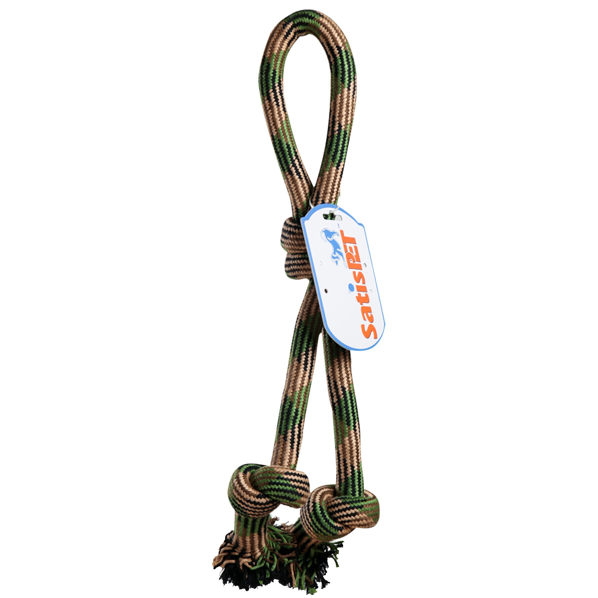SatisPet 24-Inch Knotted Woven Rope Tug Chew Toy for Large Dogs, Camouflage