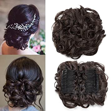 Tess Haarteil Dutt Haargummi Synthetik Haare Fur Haarknoten Zopf Gummiband Hochsteckfrisuren Haarband Dunkelbraun