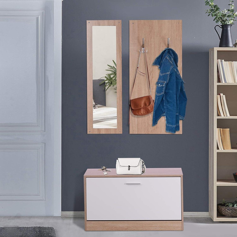 HOMCOM 3 EN 1 Conjunto de Muebles de Entrada Recibidor Pasillo Set de 3 Piezas Perchero Espejo Zapatero Madera