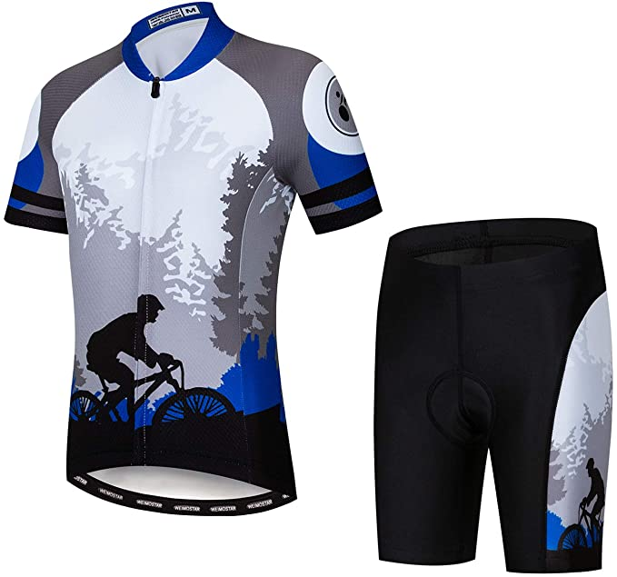 Kids Cycling Jersey Set Cartoon Short Sleeve Bike Top for Boy Girl with Padded Shorts Outer Space Size XL