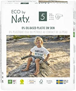 Eco by Naty, Size 5, 132 Diapers, 24-55 lbs, ONE MONTH supply, Plant-based premium ecological diaper with 0% oil plastic on skin