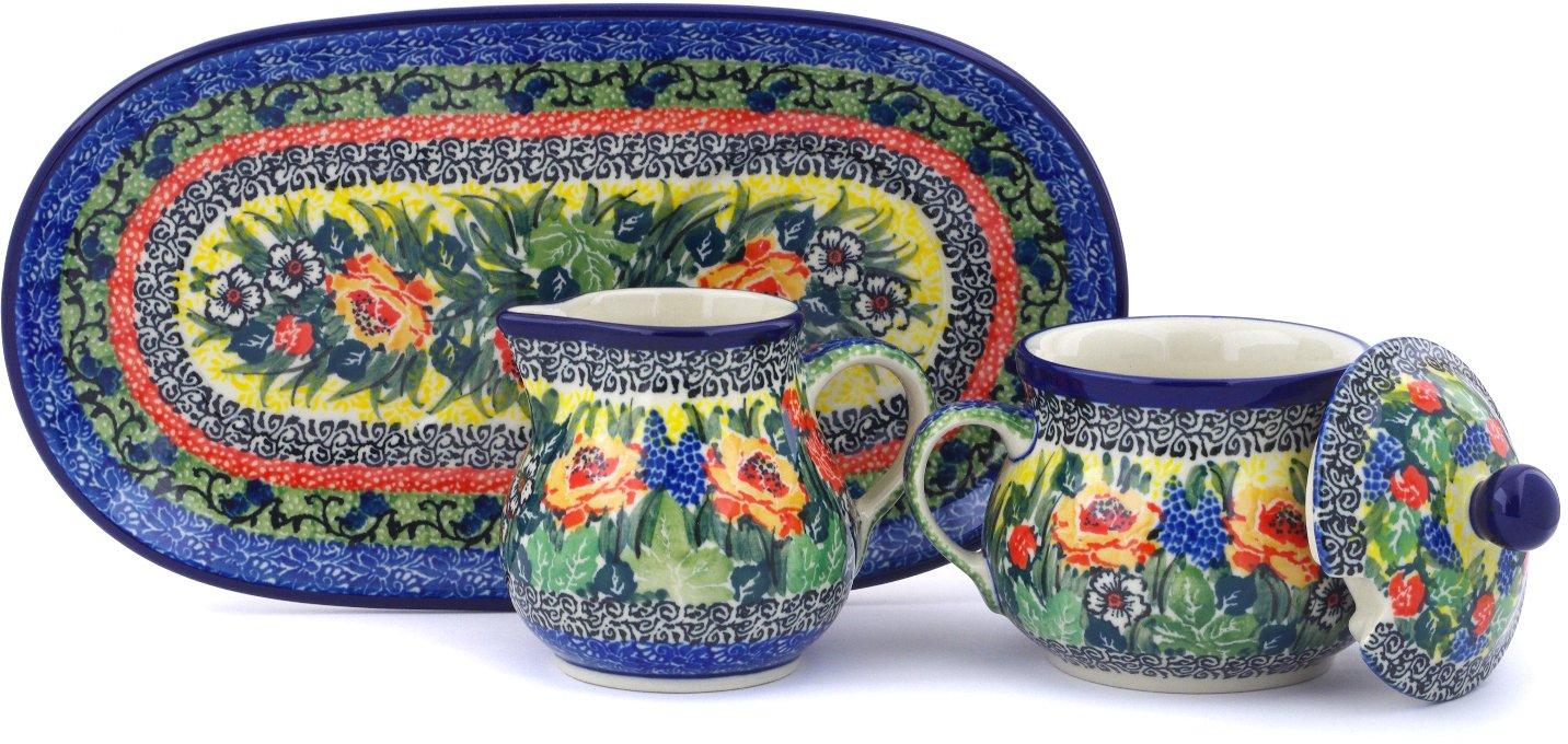 Polish Pottery 9½-inch Sugar and Creamer Set made by Ceramika Artystyczna (Splendid Morning Glow Theme) Signature UNIKAT + Certificate of Authenticity
