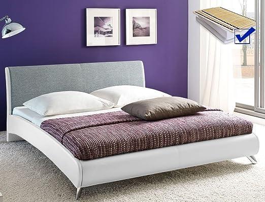 Polsterbett Doppelbett 180x200 Cm Weiß Hellgrau Kunstleder