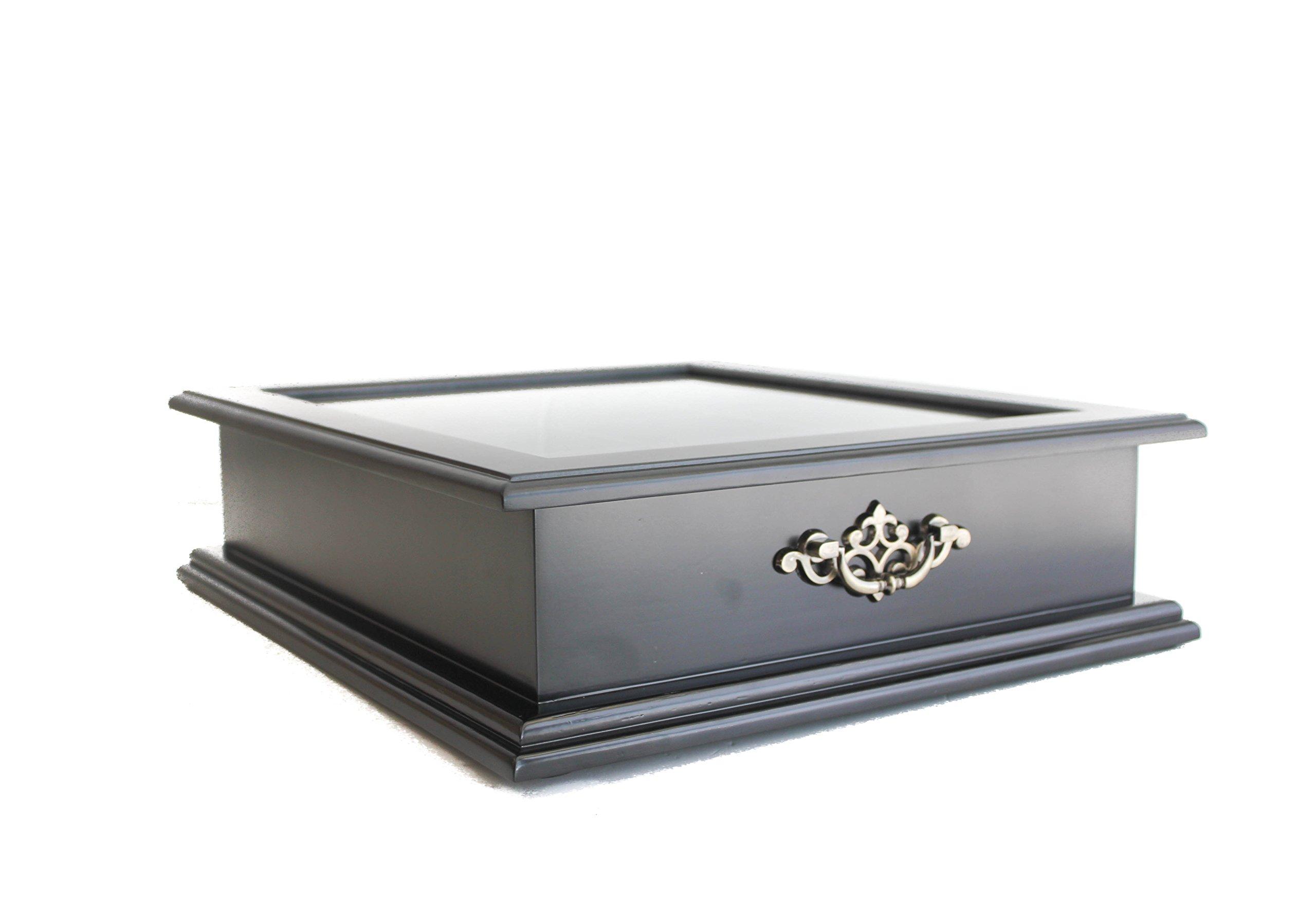 Large Tea Bag Chest Cabinet/Tea Bag Storage Box, Solid Wood (Black Finish) by DisplayGifts (Image #1)