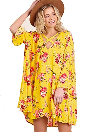 Sunshine Yellow! Floral Swing Dress or Tunic (xl)