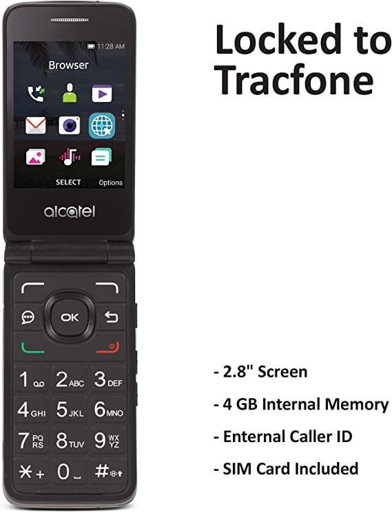 Tracfone Carrier-Locked Alcatel MyFlip 4G Prepaid Flip Phone- Black - 4GB - Sim Card Included – CDMA (TFALA405DCP)