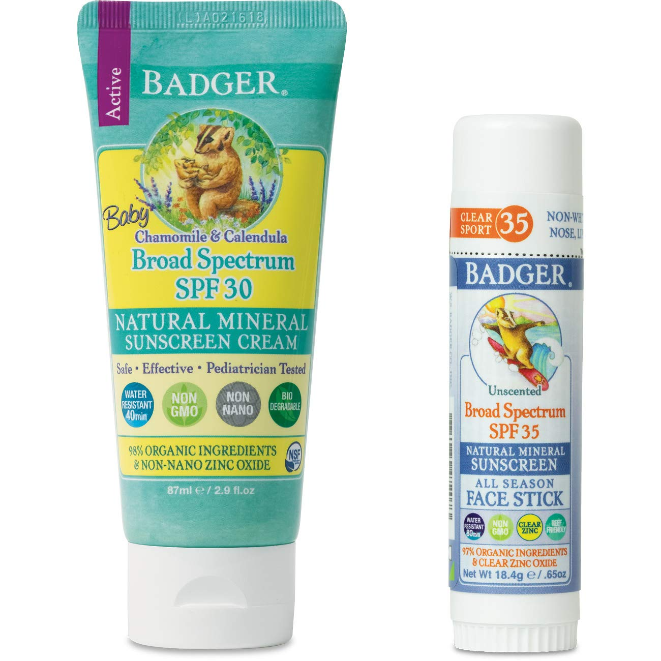 Badger - Baby SPF 30 Sunscreen Cream & Unscented SPF 35 Sport Sunscreen Face Stick, Broad Spectrum Water Resistant Reef Safe Sunscreen, Natural Mineral Sunscreen, 2.9 fl oz Cream, 0.65 oz Stick
