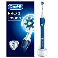 Oral-B Pro 2 2000N CrossAction Electric Toothbrush Rechargeable Powered By Braun, 1 Handle, 2 Modes Including Gum Care, 1 Toothbrush Head, 2 Pin UK Plug