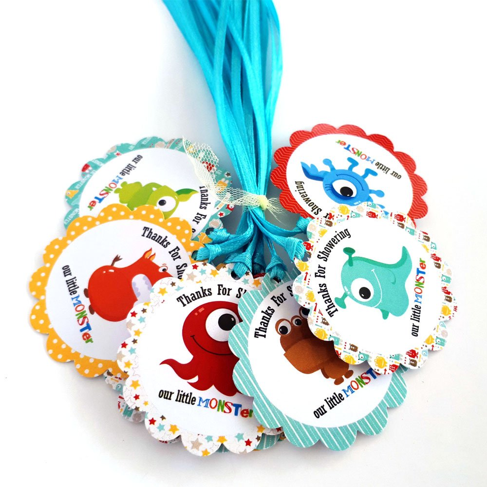 Thanks for Showering Our Little Monster Favor Tags for Baby Shower Party Celebration - Set of 12