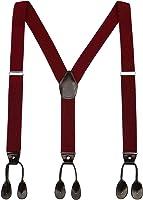 Mens Button End Dress Suspenders - Adjustable Elastic Y shape Suspender