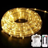 Battery Operated LED Rope Lights, YoungPower Warm White String Lights Remote Control Fairy Lights Outdoor, 40ft 120 LED…