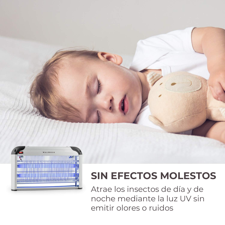 Waldbeck Mosquito Ex 3000 Lámpara insecticida • Atrapa Insectos UV • Repelente de Mosquitos • Sin químicos tóxicos • Inodoro y silencioso • 16 W • Efecto 40 ...