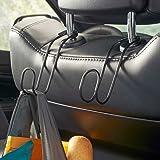 High Road Contour Car Hooks Metal Headrest Hangers - 2 Pack (Black)