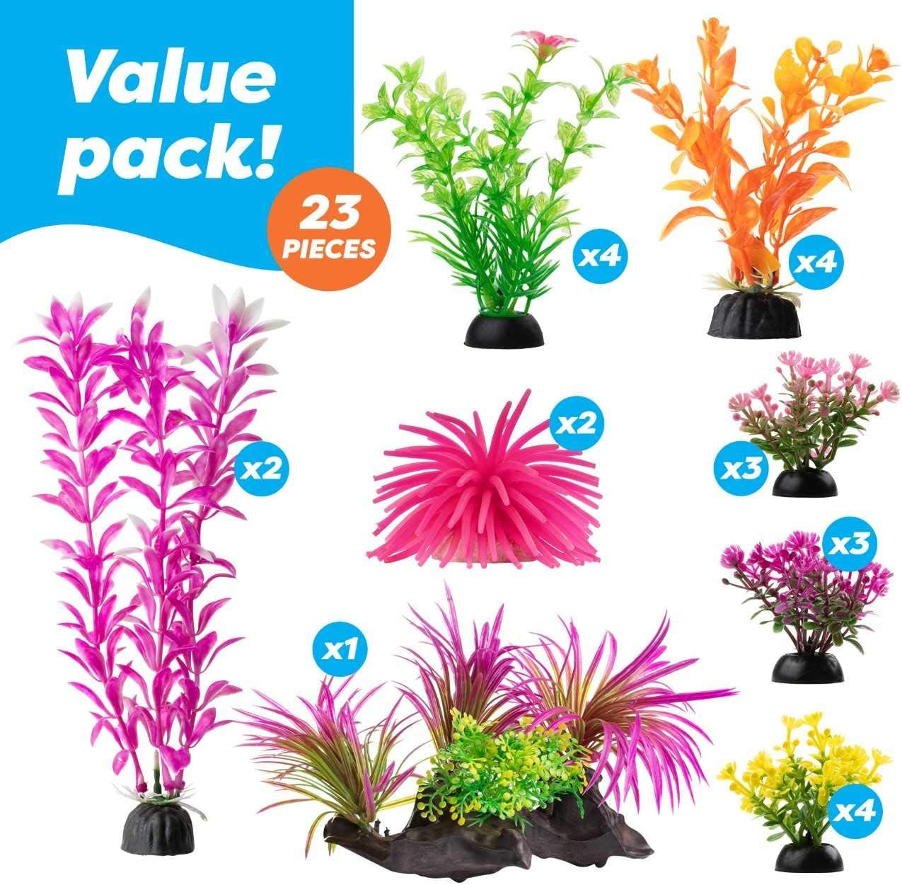 Aropaw Aquarium Decorations 20 30 Pack Lifelike Plastic Decor Fish Tank Plants Small To Large