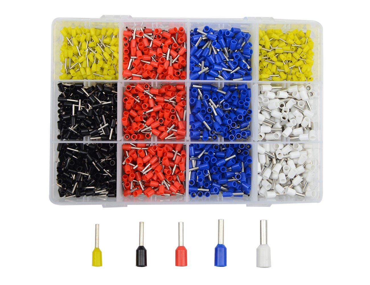 WGCD 1800 PCS Ferrule Wire Copper Crimp Connector Insulated Cord Pin End Terminal Assortment Kit 14 16 18 20 22 AWG