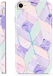 CAOUME case for iPhone SE (2nd gen - 2020), iPhone 8/7 (NOT Plus) Purple Marble Design Sparkly Glitter Protective Stylish Slim Cases for Apple Phone, Soft TPU Silicone Bumper Defender Camera Screen
