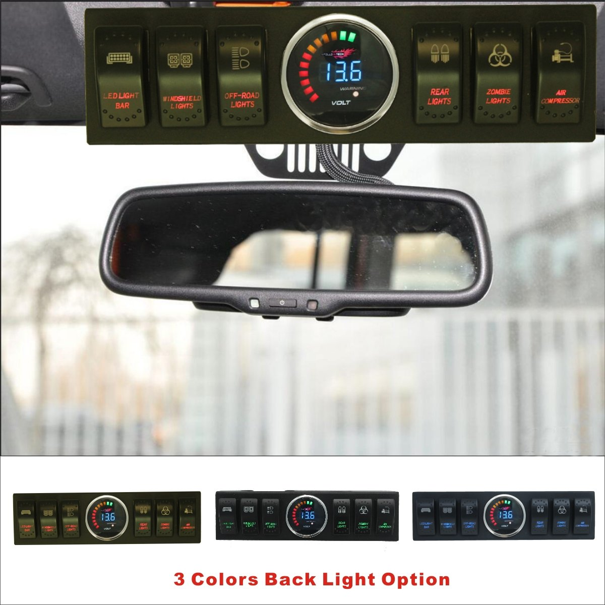Apollointech Jeep Wrangler JK & JKU 2009-2017 Overhead 6-Switch Pod / Panel with Control and Source System Red Back Light ( Comes with 10 Laser Switch Covers ) by ApolloIntech